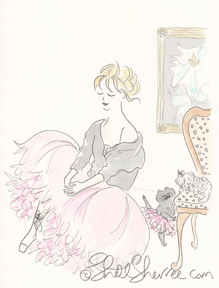 pink tutu party illustration by shell sherree