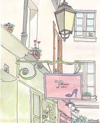 paris shoe shop french art print by shell sherree