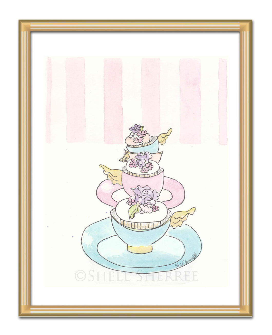teacups with cupcakes and wings, pink and white stripes art by shell sherree