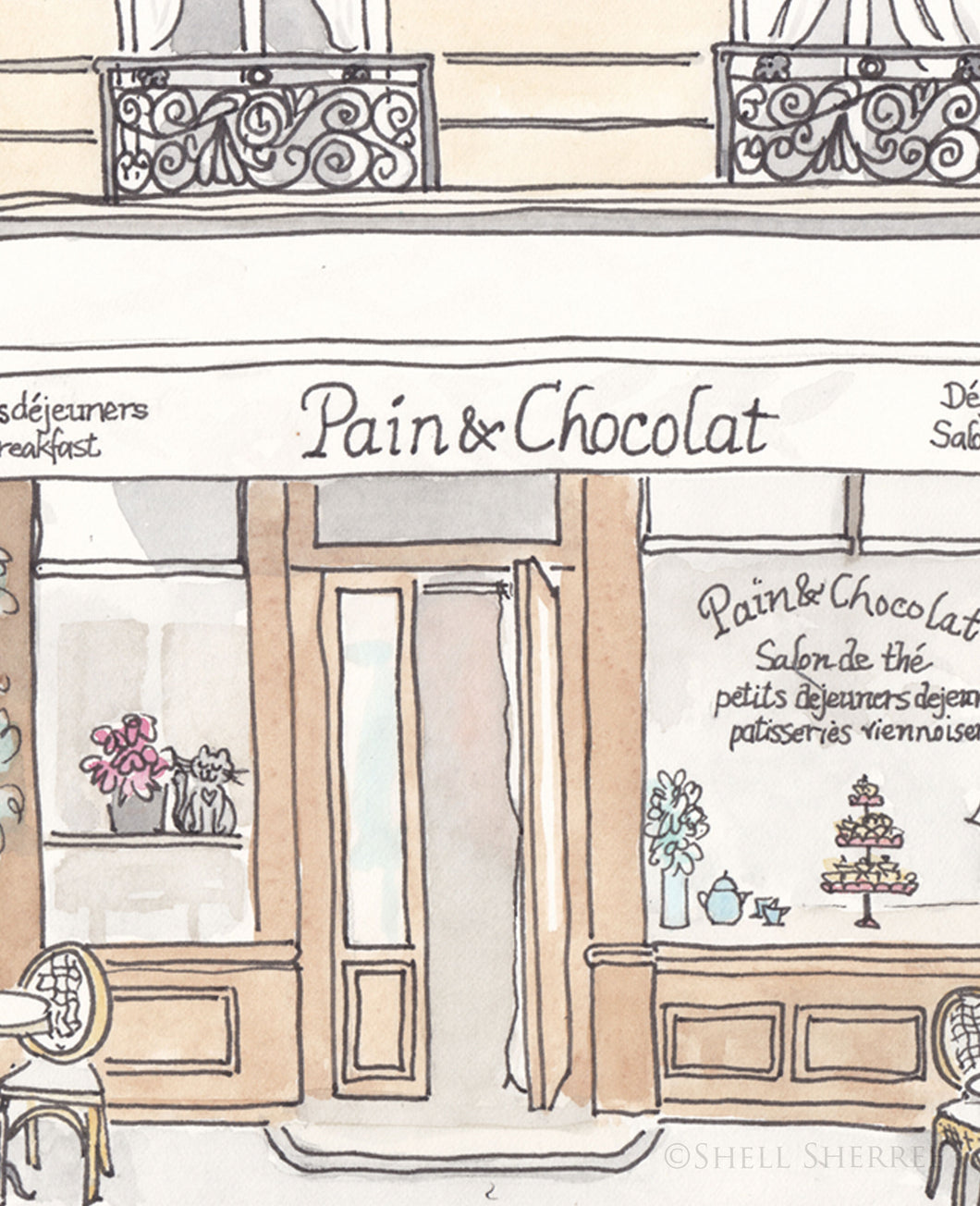 french cafe art pain et chocolat by shell sherree
