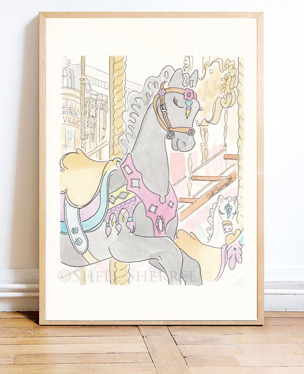 paris carousel pony noir art print by shell sherree