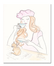 chihuahua dog art with pink beret and tea print by shell sherree