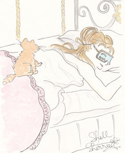 breakfast at tiffanys ginger cat snooze art by shell sherree