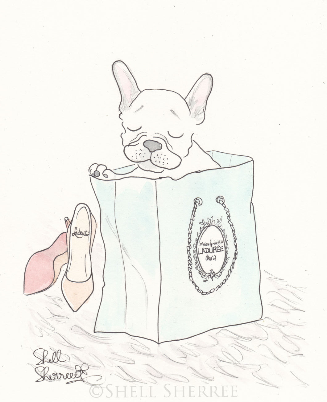 white french bulldog art print with laduree and shoes art by shell sherree