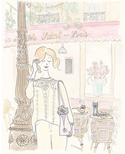 paris print saint-louis cafe at cat o'clock by shell sherree