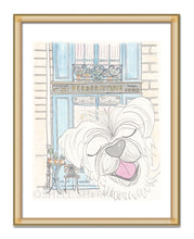 happy white dog wth paris herboristerie art by shell sherree