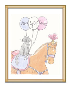 bastille day french theme horse with cat - art by shell sherree