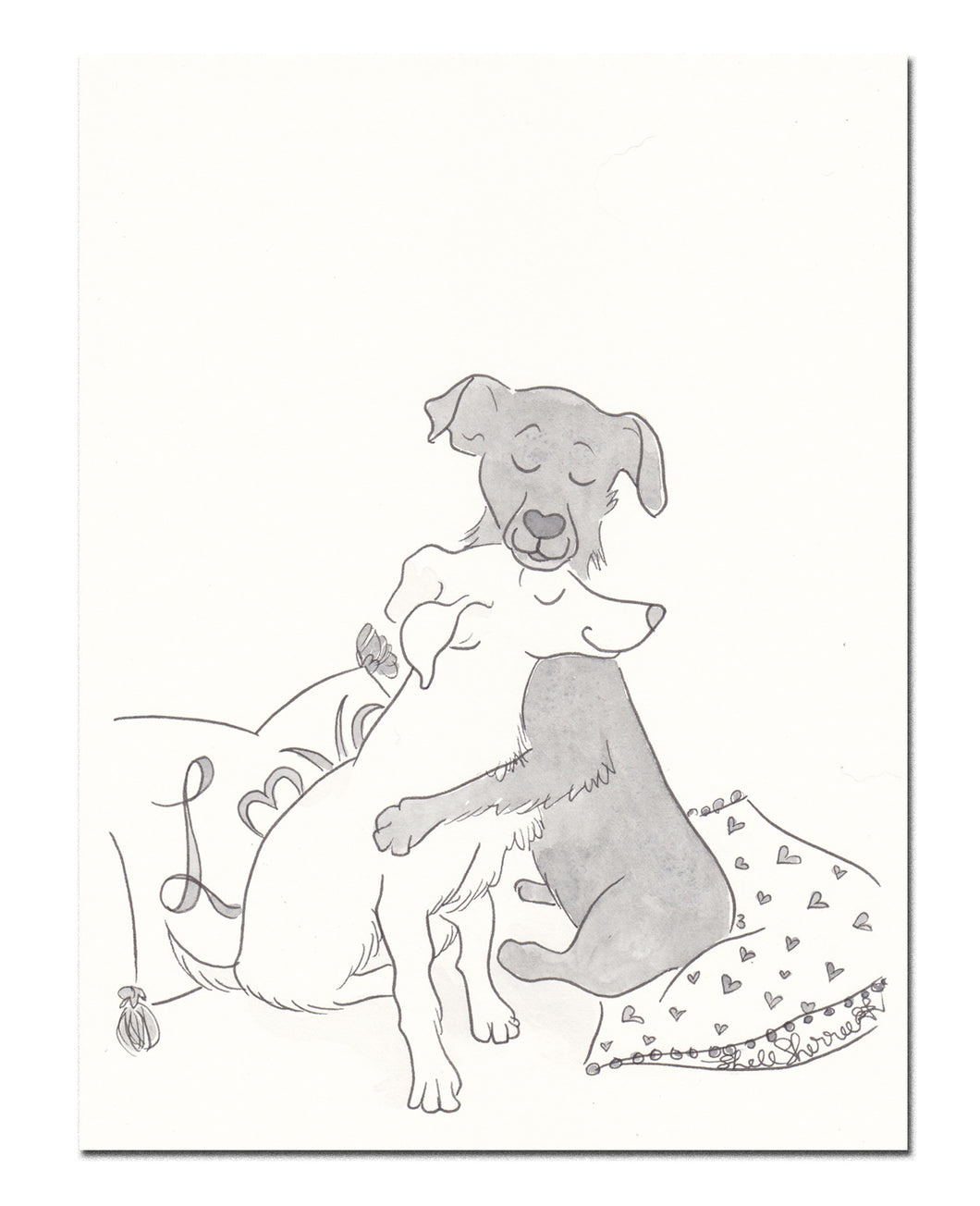 black and white dog hugs and love art by shell sherree