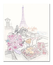 paris rooftop picnic with french bulldog black cat shell sherree art print