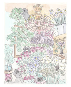 paris french flower shop with cats art by shell sherree