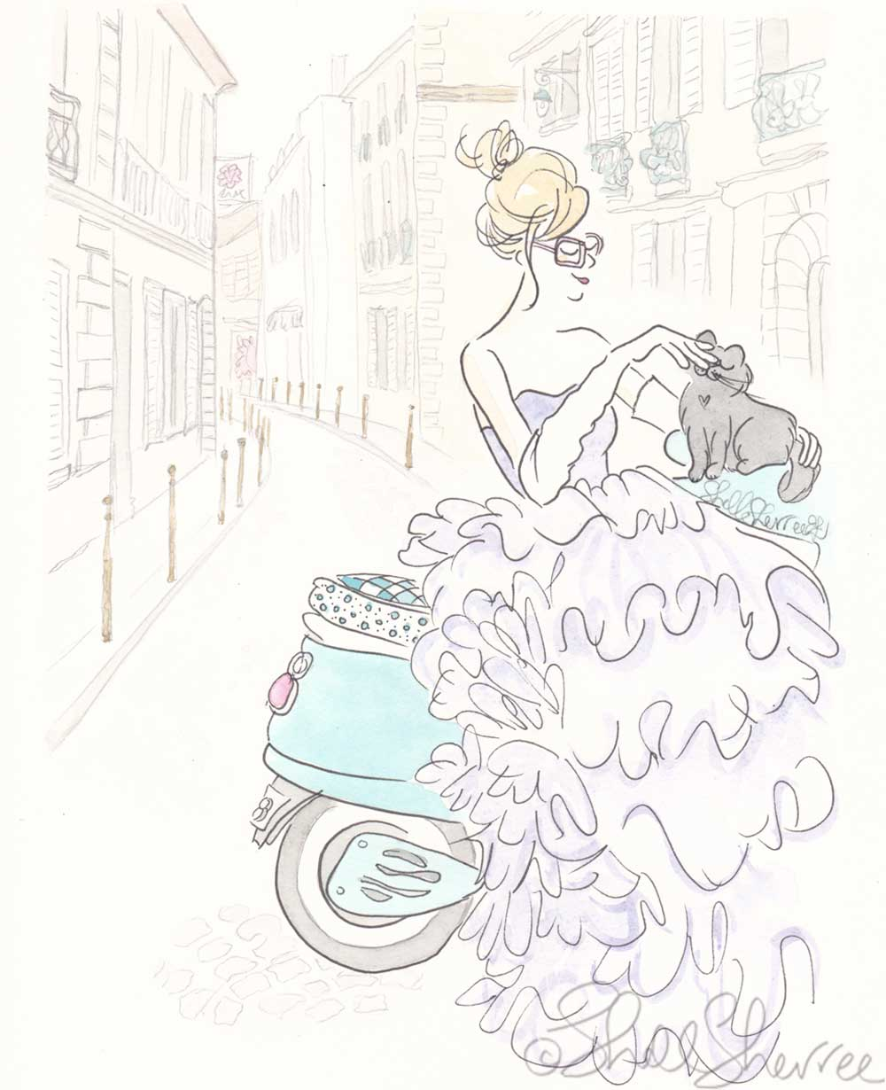 aqua scooter paris purple gown fashion illustration shell sherree