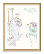 paris fashion carousel with french bulldog art print by shell sherree