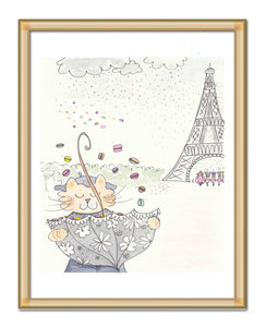 eiffel tower kitty cat and macaron showers paris art print by shell sherree