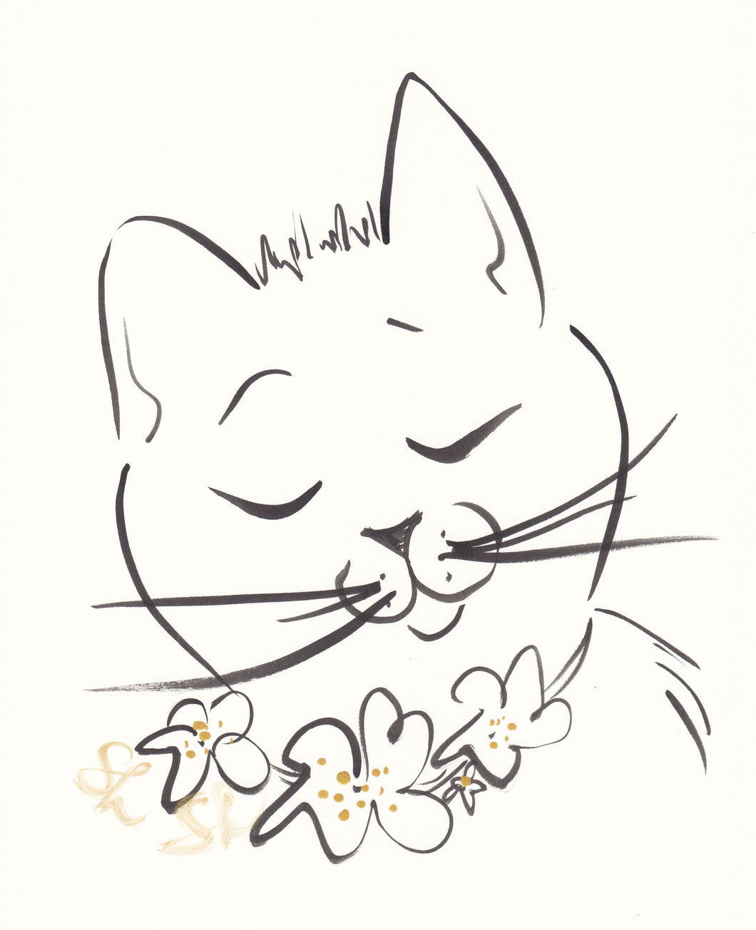 sweet cat art with flowers by shell sherree