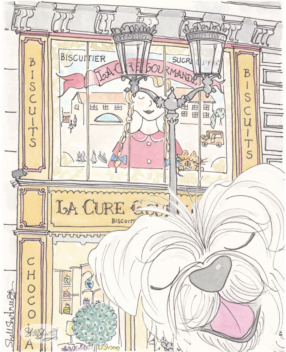la cure gourmande paris art with white dog by shell sherree