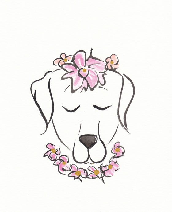 labrador dog original painting with flowers by shell sherree