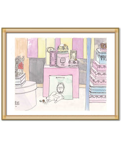 laduree paris painting with bunny art print by shell sherree