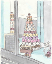 macaron tower aqua shop paris art print by shell sherree