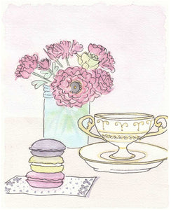 macaron lemon tea time with pink flowers art by shell sherree