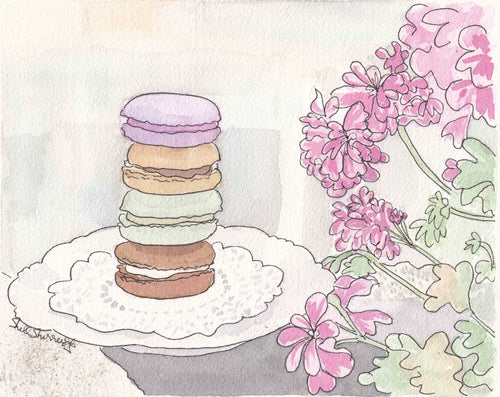 macaron art painting print with geraniums by shell sherree