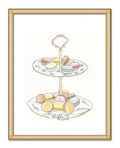 french macarons blue and white stand art by shell sherree