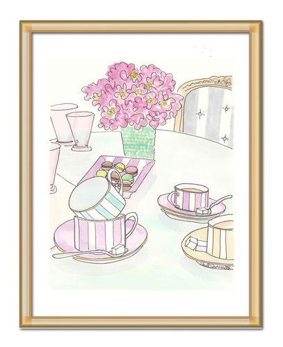 macarons striped cups pink flowers striped chair art by shell sherree