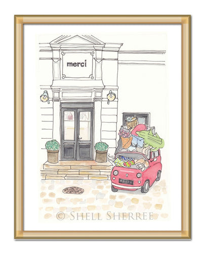merci store paris art print by shell sherree