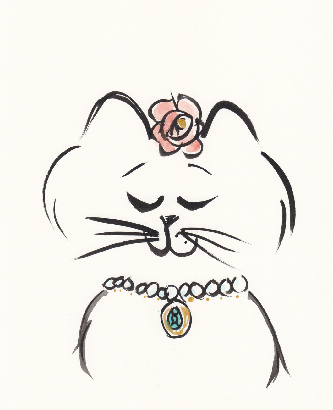 sweet cat and flower original art shell sherree