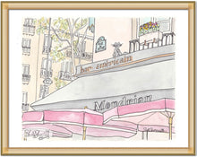 paris bar americain with red umbrellas illustration art by shell sherree