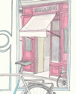 paris pink boulanger cafe with bicyclette bicycle art print by shell sherree