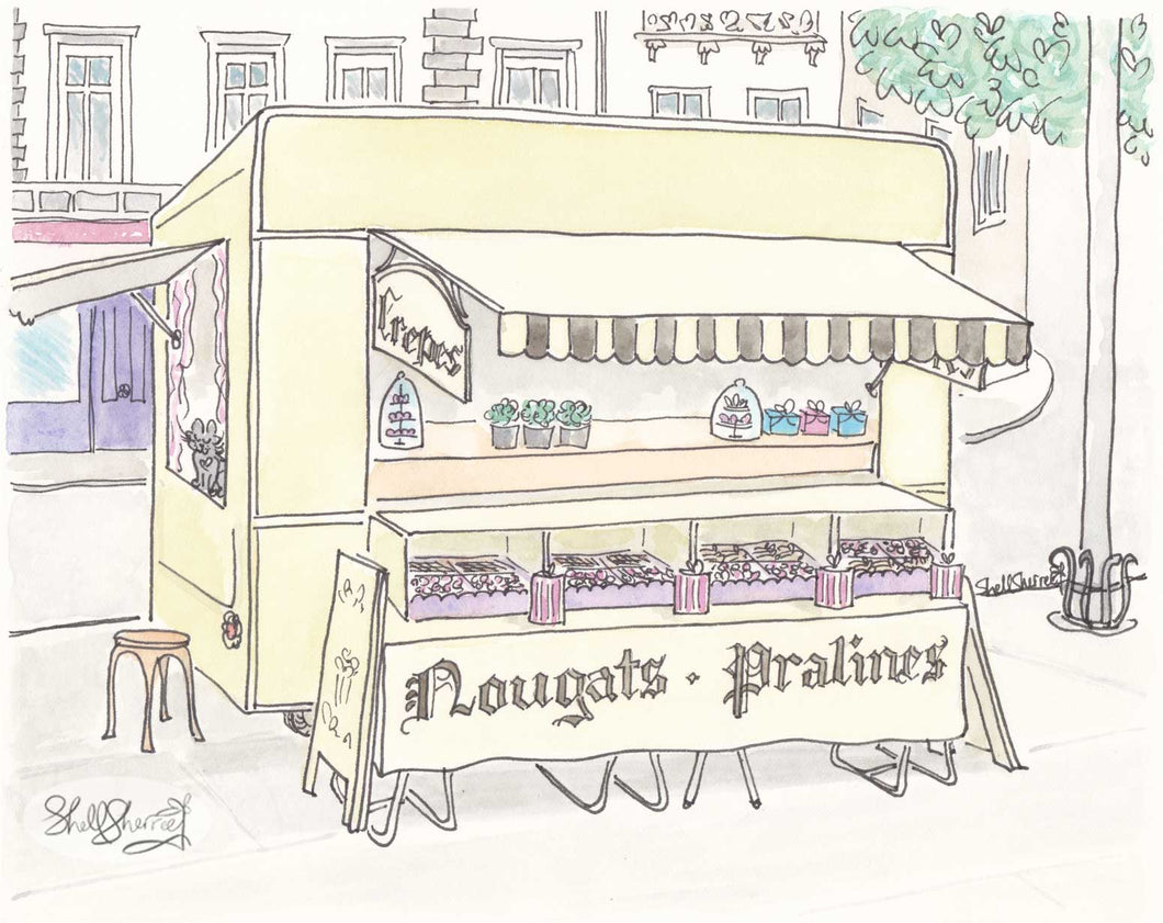 paris nougat cart art paris print by shell sherree