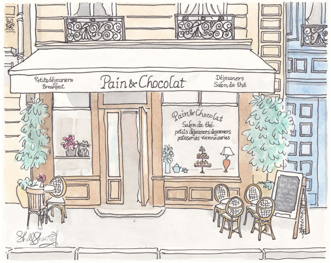 paris cafe pain et chocolat cafe art by shell sherree