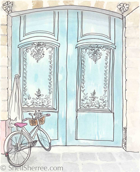 paris print aqua doors bicycle and cat by shell sherree