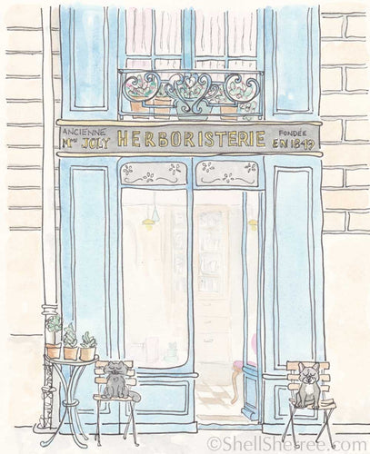 pari print shopfront herboristerie with cat and french bulldog illustration by shell sherree