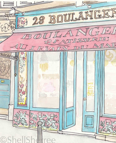 paris boulangerie print by shell sherree