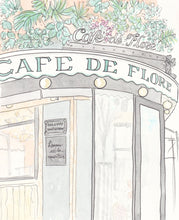 paris art print cafe de flore by shell sherree