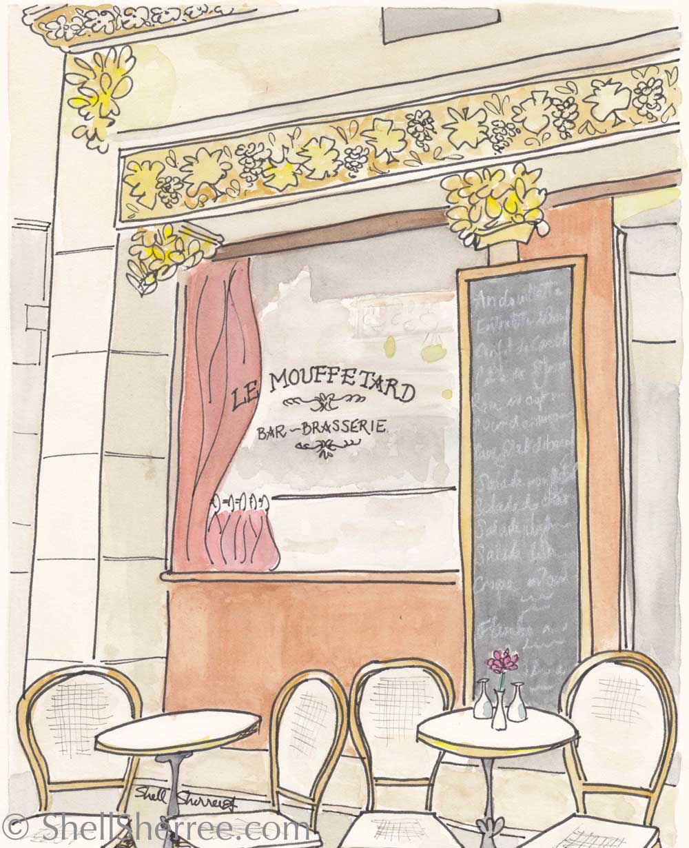 paris print bar brasserie Le Mouffetard by shell sherree