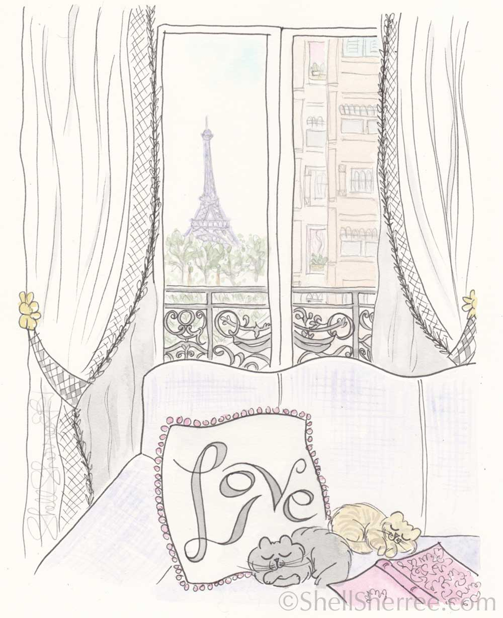 paris apartment print eiffel tower view sleeping cats by shell sherree