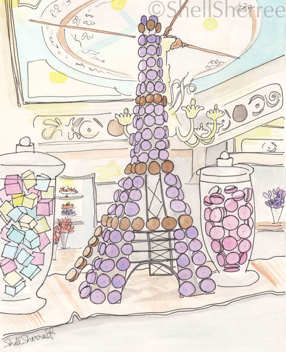 eiffel tower of macarons patisserie print by shell sherree