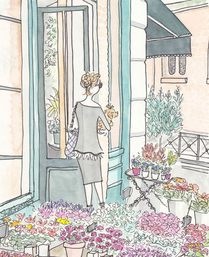 Paris Flower Shop Style fashion animals illustration print by Shell Sherree
