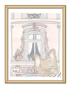 pretty paris window and french bulldog art by shell sherree