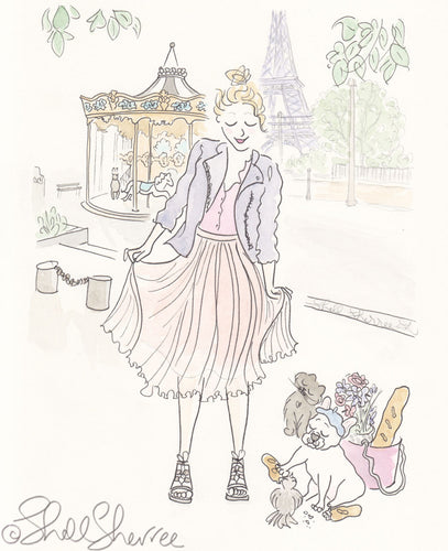 paris carousel fashion fluffballs frenchie and cat by shell sherree