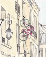 paris love bicycle illustration print by shell sherree