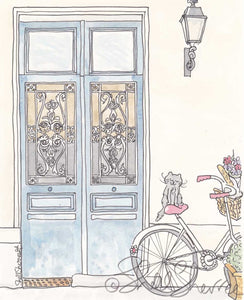 paris tour de kitty bicycle door and cat illustration by shell sherree