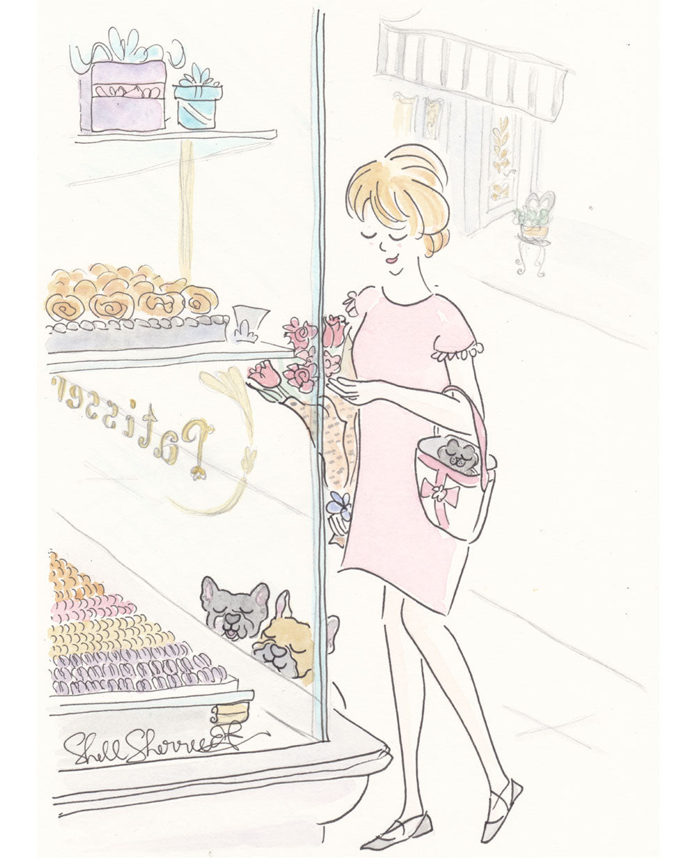 Patisserie Window Shopping with French Bulldogs in Paris art by Shell Sherree