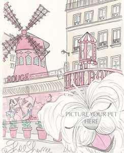 pet portrait dog Moulin Rouge Paris by shell sherree