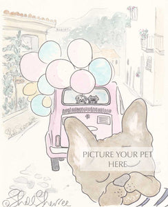 pet portrait French bulldog shellsherree provence tuscany pink car