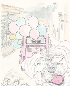 pet portrait dog shellsherree provence tuscany pink car