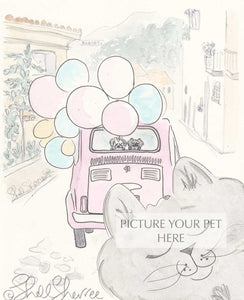 pet portrait cat shellsherree provence tuscany pink car
