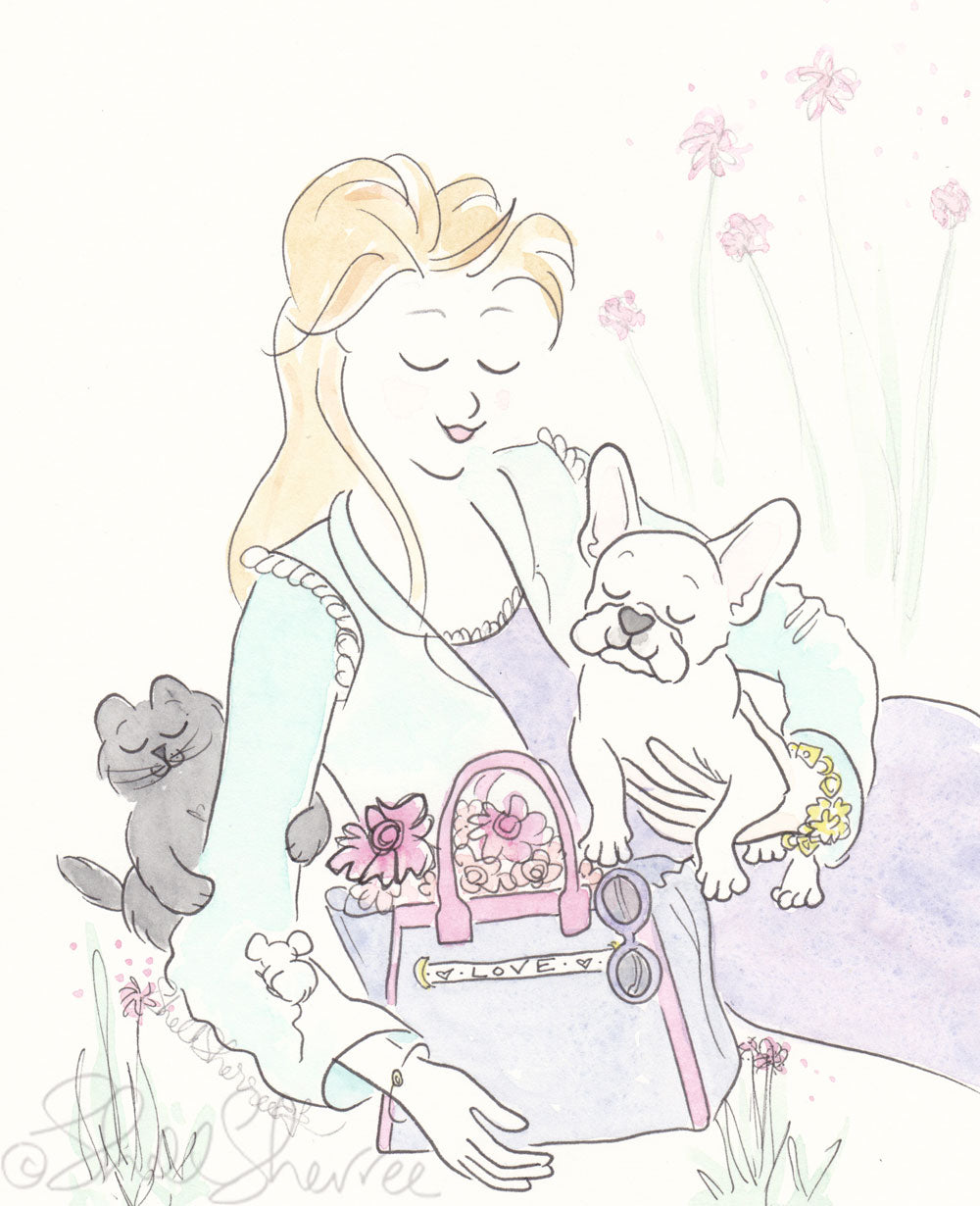 white french bulldog puppy cuddles in the park with black cat, shell sherree illustration